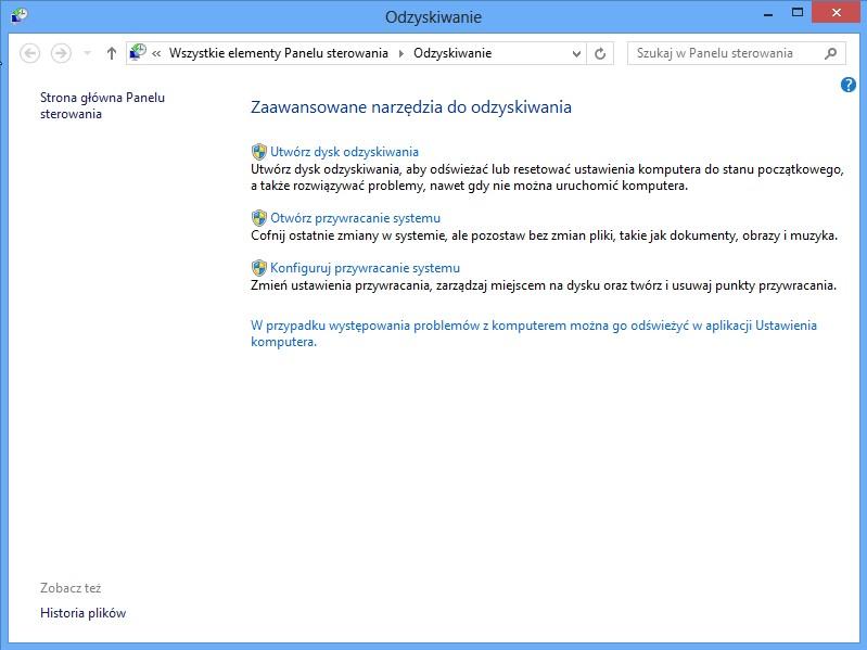 Odzyskiwanie systemu Windows 8