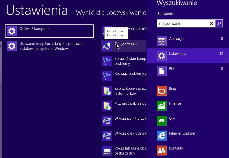 Odzyskiwanie systemu Windows 854