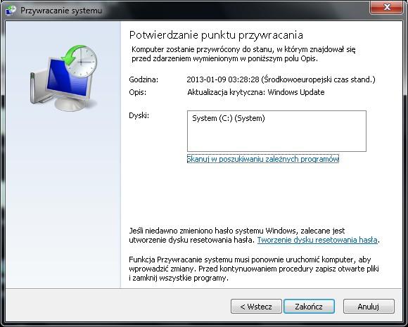 Przywracanie systemu Windows 7
