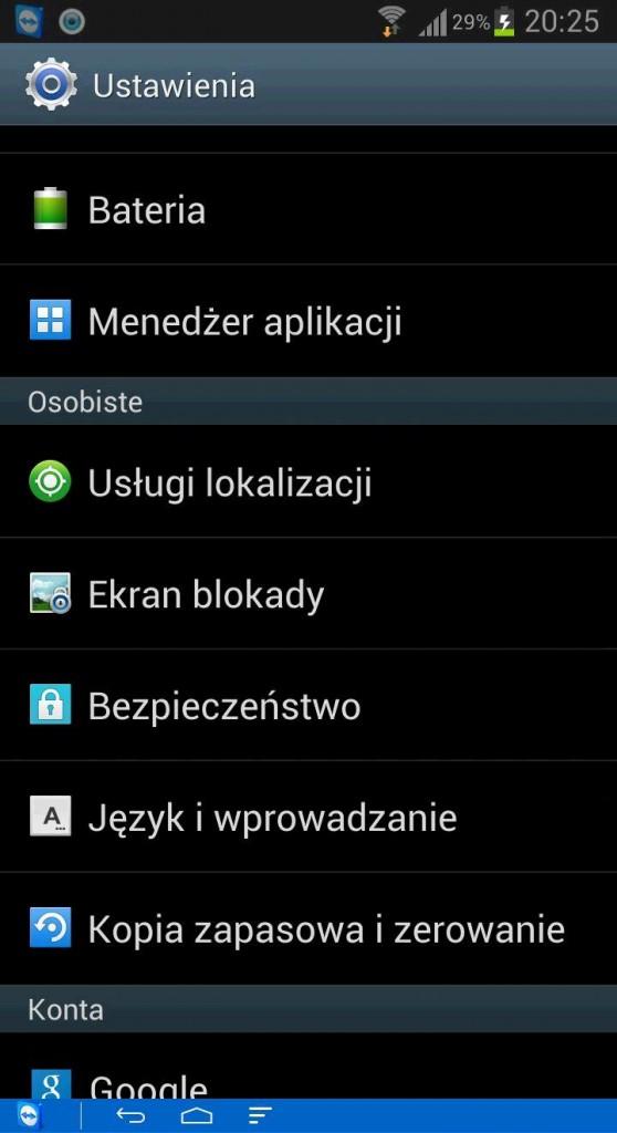 Android - menu bezpieczeństwo