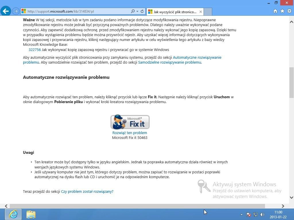 czyszczenie pliku wymiany Windows 7