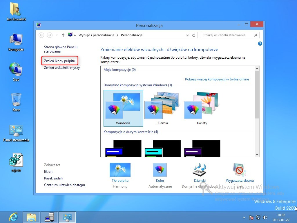jak odzyskać kosz na pulpicie Windows 8