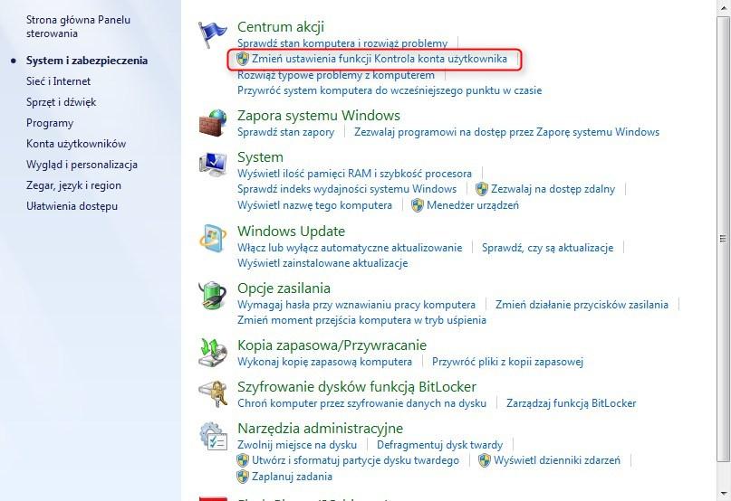 jak wyłączyć UAC w Windows 7
