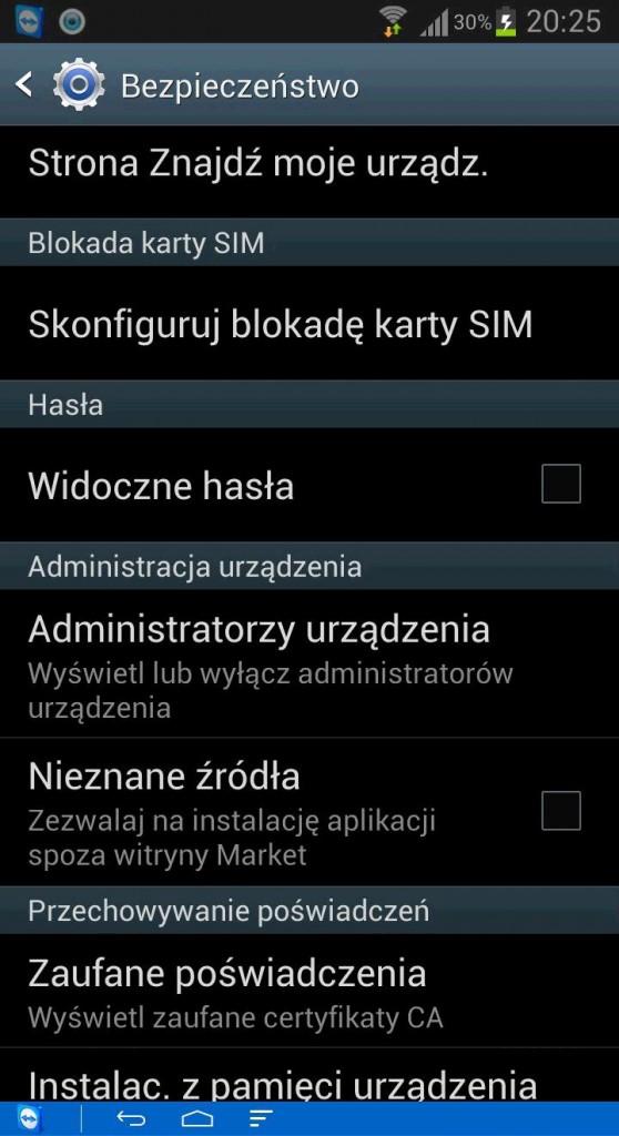 nieznane źródła Android
