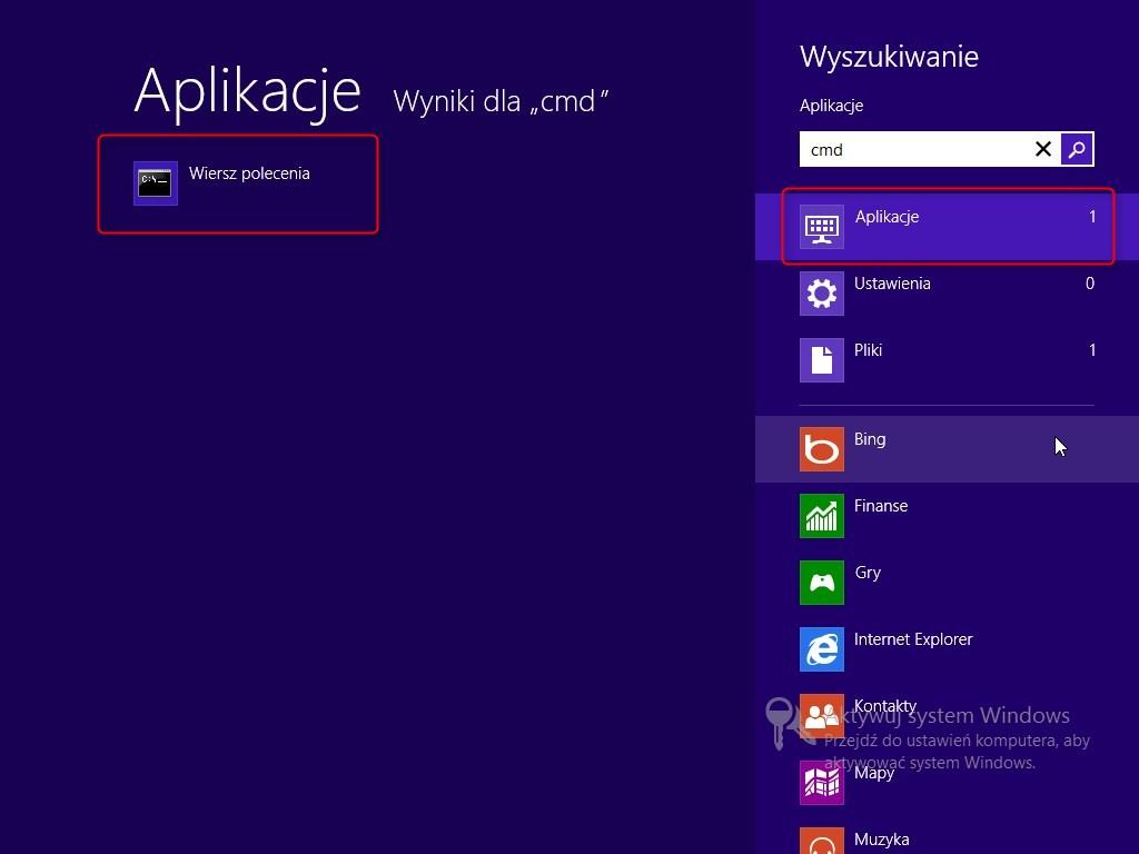 wiersz poleceń z uprawnieniami administratora - Windows 8