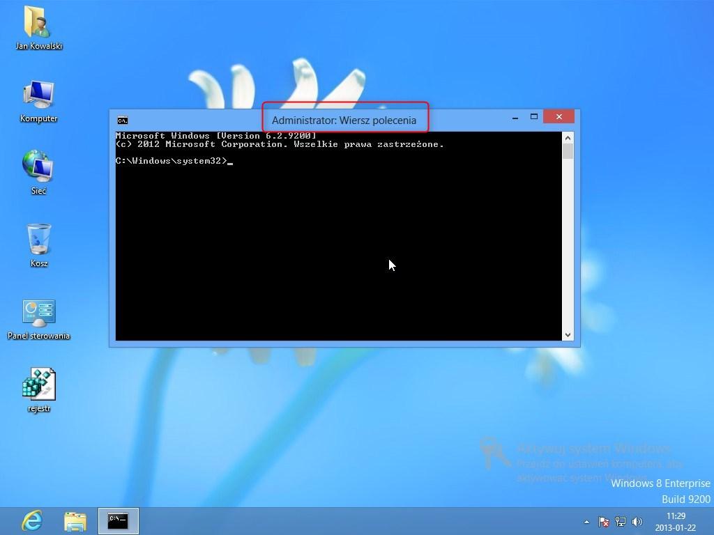 wiersz poleceń z uprawnieniami administratora – Windows 8