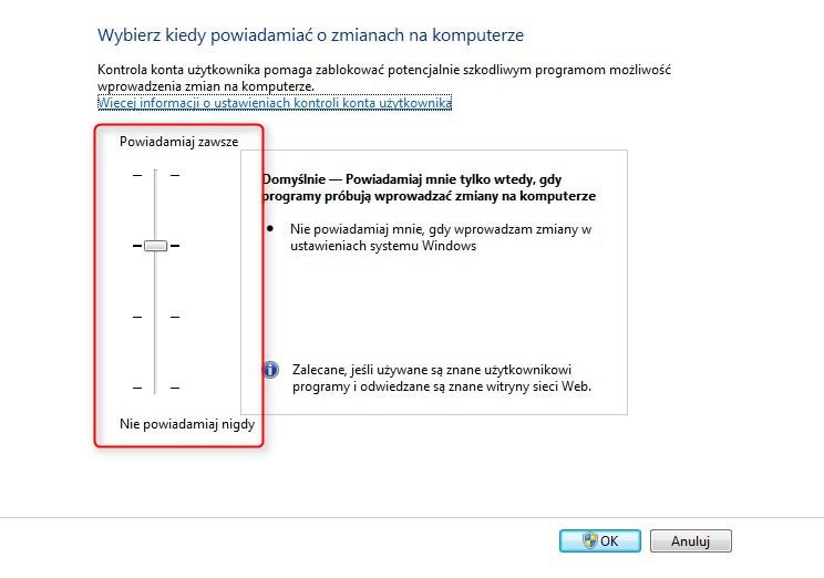 wyłączenie UAC Windows 7