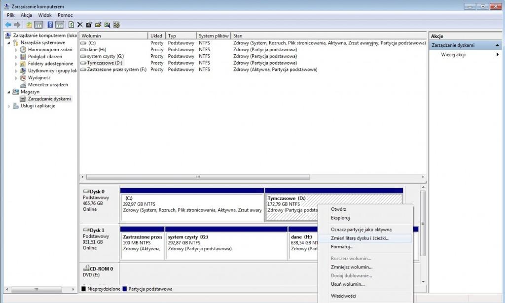 zmiana rozmiaru partycji Windows 7 - menadżer dysków