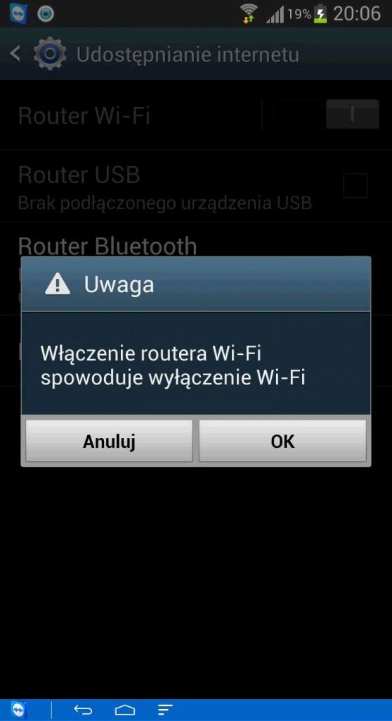 udostępnianie internetu Android